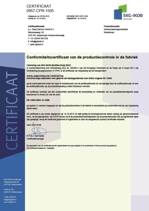 SKG-IKOB certificaat 0957 CPR 1505